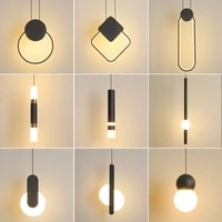novelty nordic led pendant lights for living room bedroom bedside bar wall decor lighting geometry hanging lamps kitchen fixture