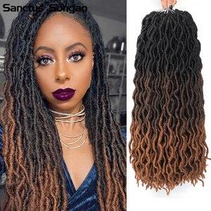 18 Inch 100Gram/Pcs Handmade 24 Strands For Black Women Ombre Crochet Hair New Faux Locs Crochet Hair Bob Braids Synthetic Hair