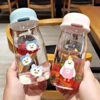 water bottle 380ml lovely cap tea milk fruit water cup water bottle drinking with rope transparent sports korean heat resistant