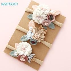 Warmom moda florais bandana bebê recém-nascido elástico princesa hairbands criança crianças pérola estilo fresco bonito headwear faixa de cabelo