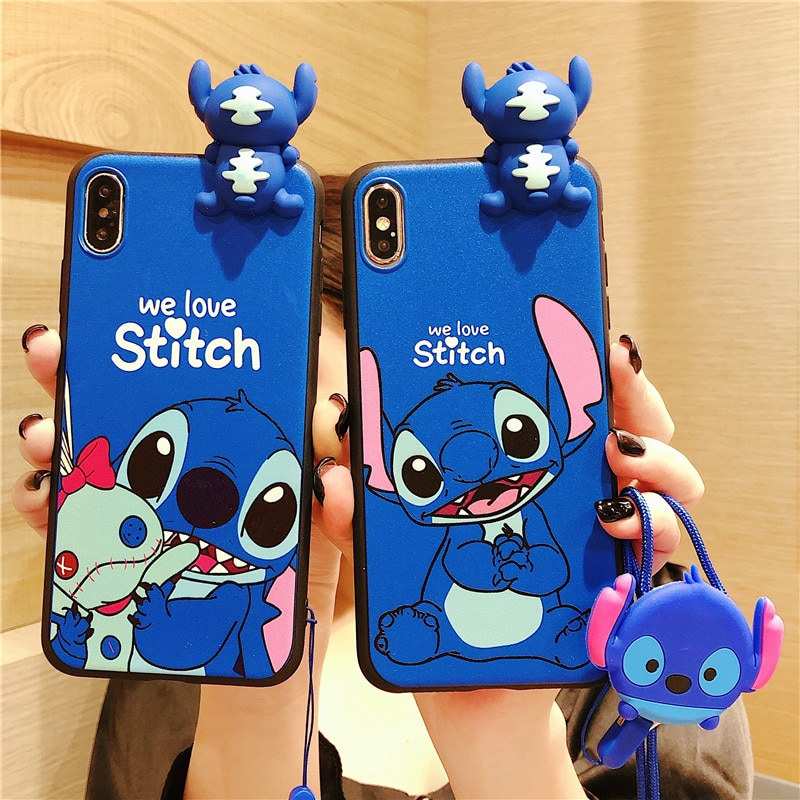 Funda suave de muñeca de dibujos animados para Samsung Galaxy S8 S9 S10 Note 10 Plus 8 9 S20 Ultra A50 A70 A20 A30 Cute Stitch correa de teléfono