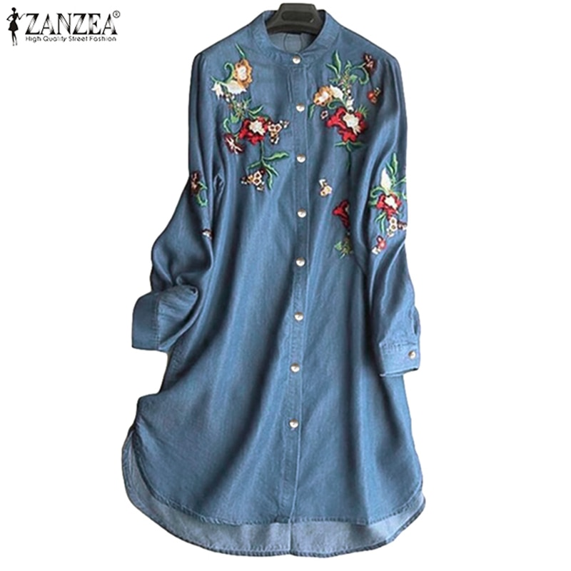 Elegant Embroidery Shirt Robe Women's Denim Blue Blouse 2021 ZANZEA Vintage Long Sleeve Blusas Female Button Jean Tunic Oversize