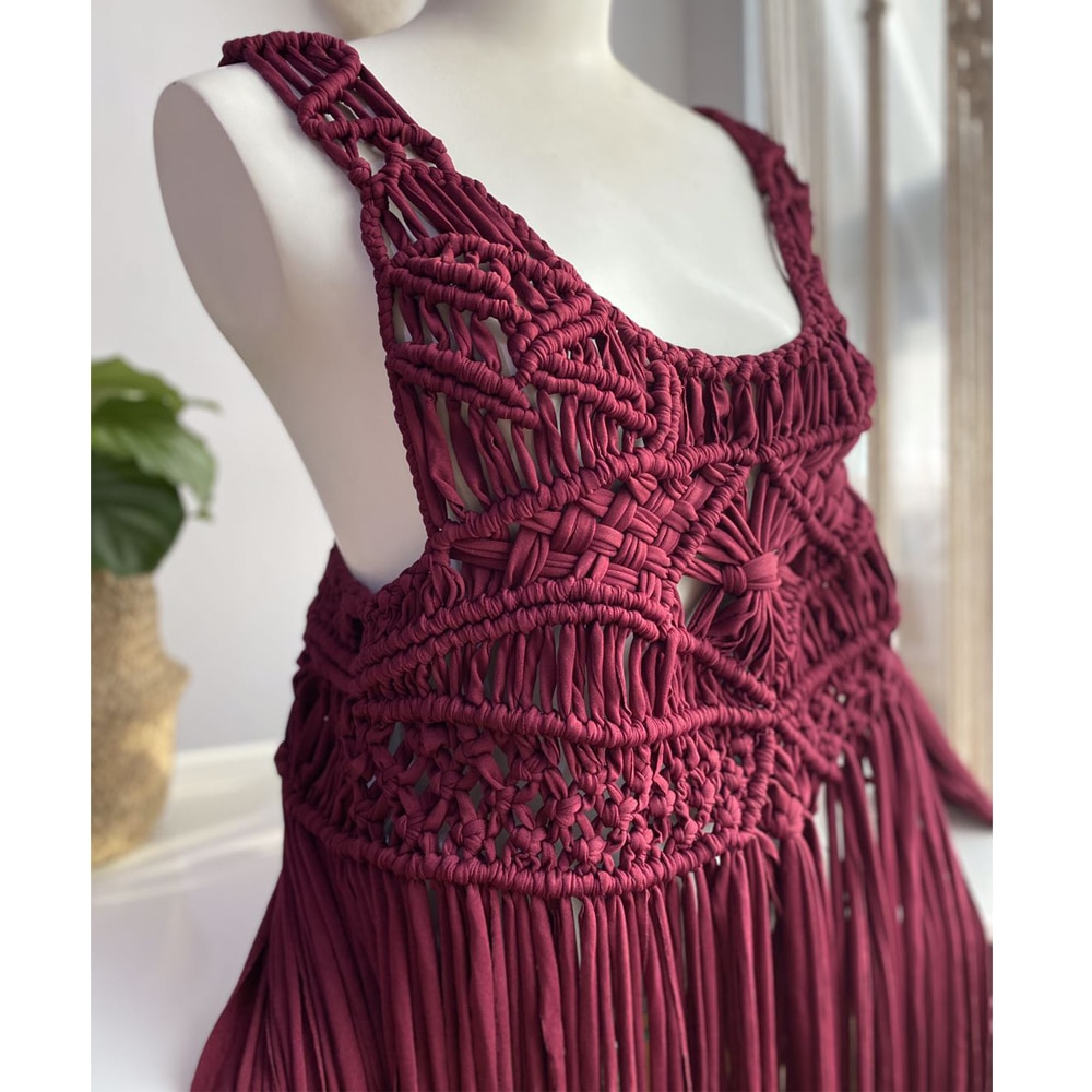 Handcraft Macrame Maternity Dresses Condole Belt Skirt Pregnant Woven Gown Baby Shower Dresses for Maternity Photography Props enlarge