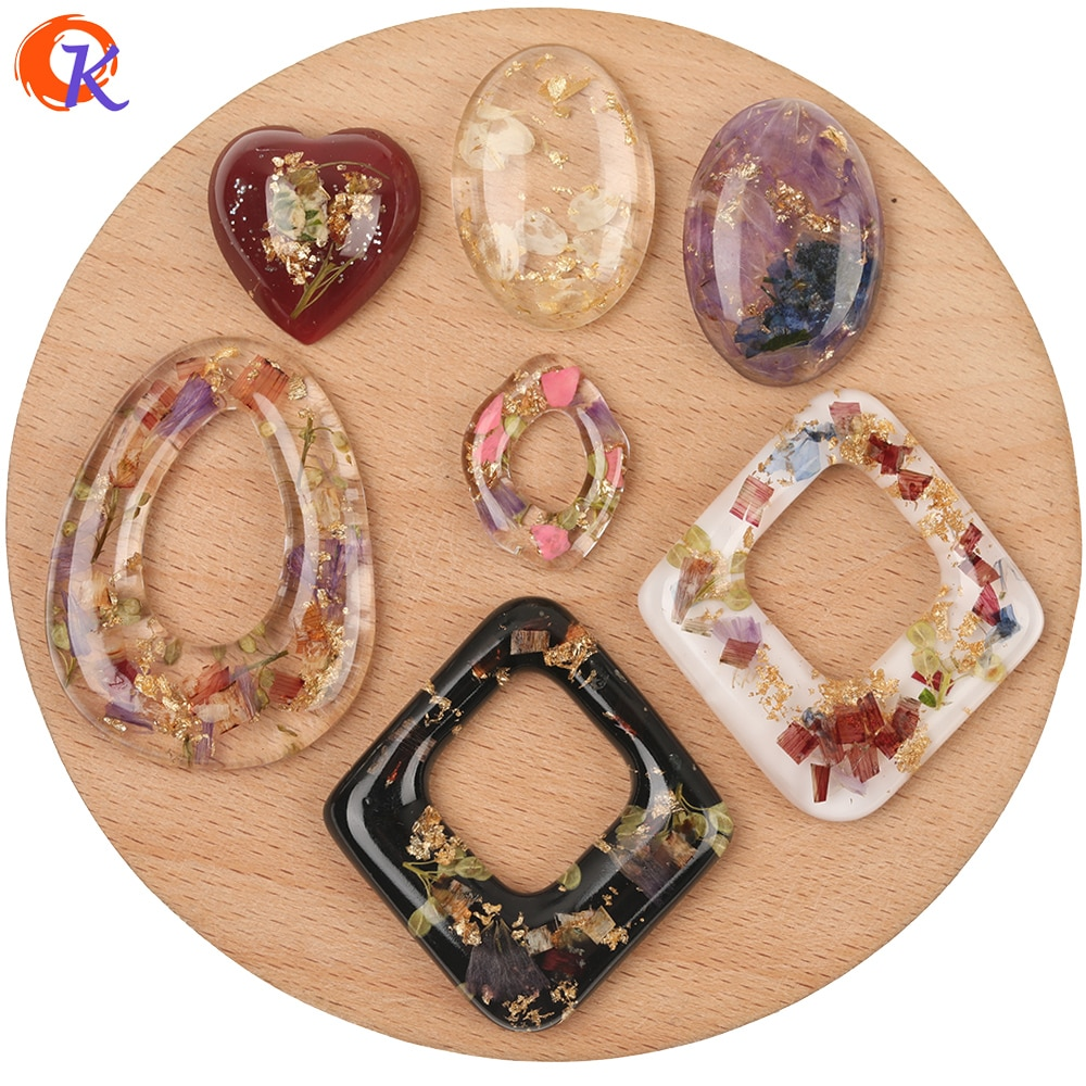 Design cordial 50 pçs acessórios de jóias/diy encantos/feitos à mão/glitter em pó & flor em contas de resina/pingente/brinco descobertas