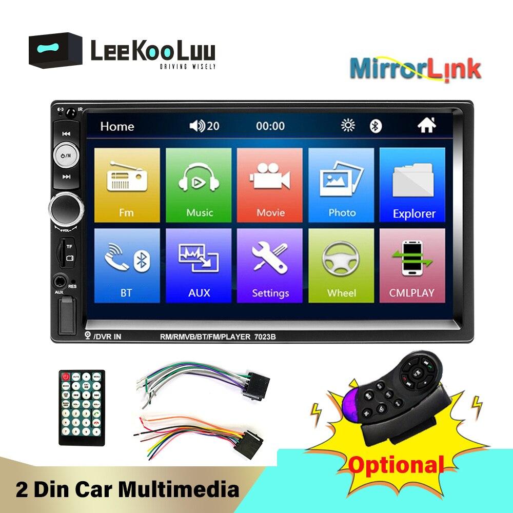 LeeKooLuu 2 Din Car Radio 2Din Autoradio coche estéreo Bluetooth FM Radio Audio AUX USB SD Android Mirrorlink reproductor Multimedia