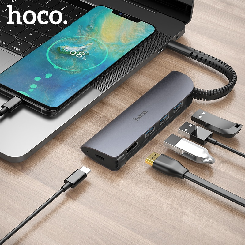 HOCO 5in1 USB convertisseur Station daccueil USB type C vers HDMI USB 3.0 PD adaptateur de moyeu pour MacBook Pro iMac PC portable Dell HP Lenovo