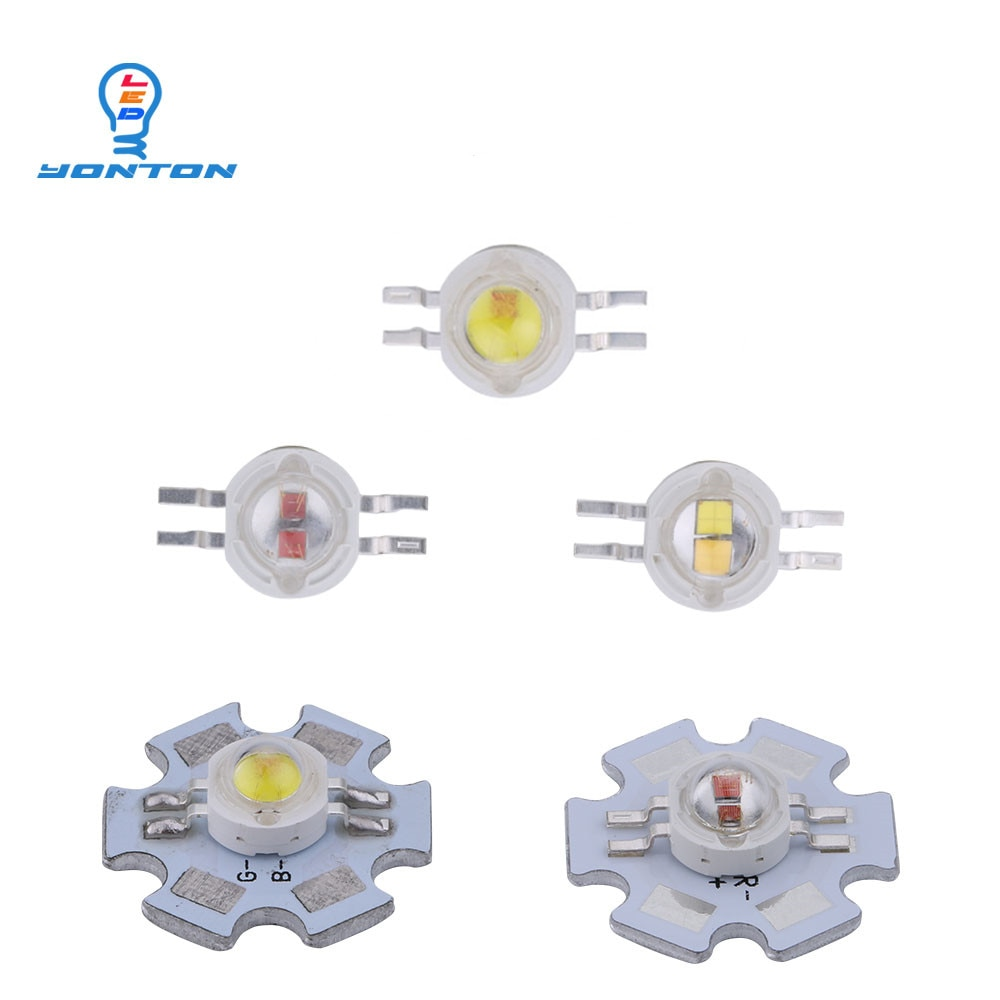 2*3W Bicolor Led Yellow White/Yellow Red/UV White/Red White for DIY Light