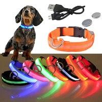 USB Перезаряжаемые светодиод для домашних собак светящийся ошейник световой мигающий Цепочки и ожерелья прогулочная обувь ночное Безопасно...