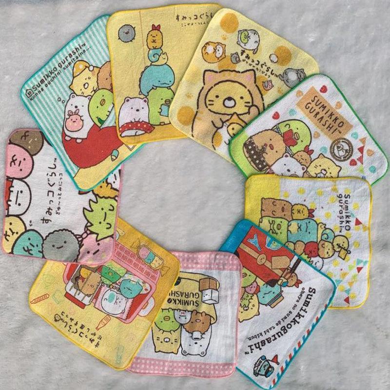 Juego de 5 unidades de toallitas de baño de estilo animé japonés Sumikko Gurashi, paños de algodón suaves para la cara, toallitas de fiesta para bebé