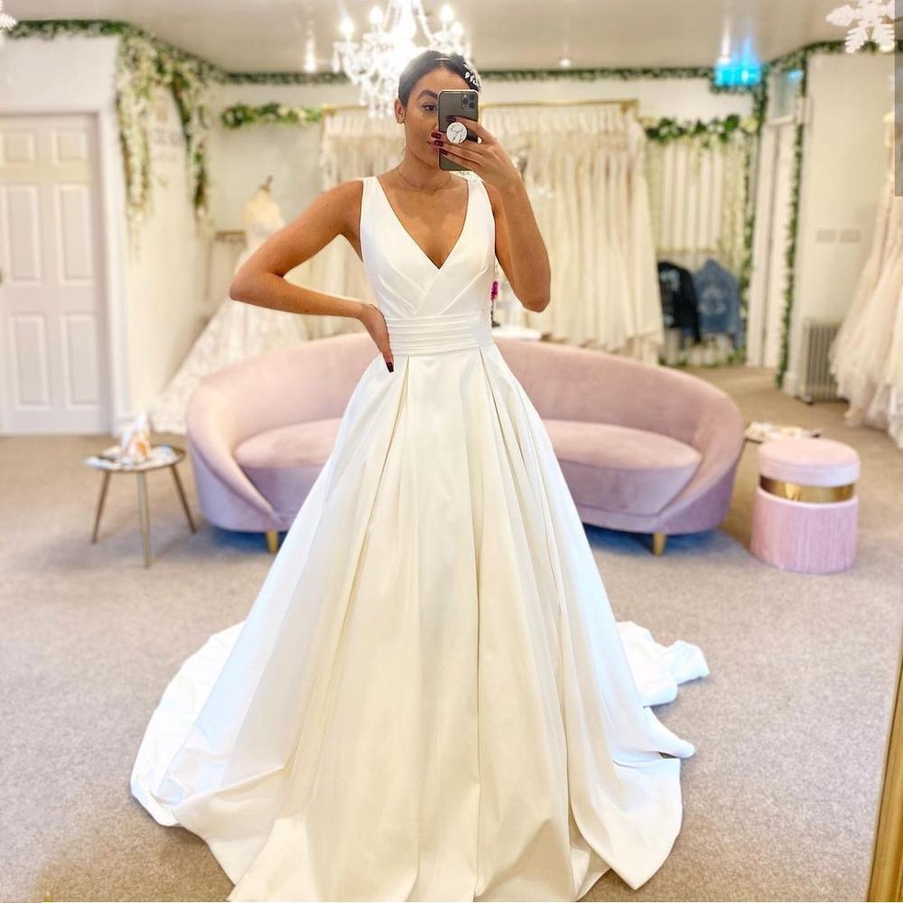 Get Elegant Simple Wedding Dress A-Line Deep V-Neck Tank Sashes Floor Length Sweep Train Long Bridal Gowns Custom Made Robe De Marie