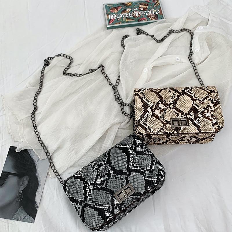 Small Hot Sale Square Bag Retro Contrast Color Snake Skin Slant Straddle Women 2020 New Fashion European And American
