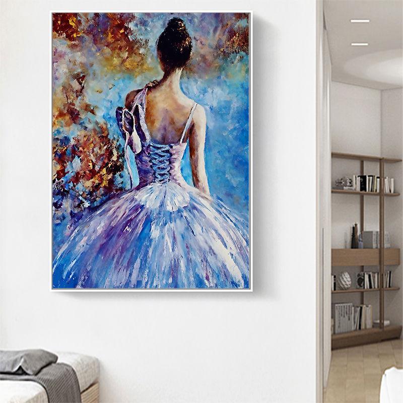 Картина маслом на холсте танцующая девушка картины плакаты и краски подарок искусство для гостиной спальни домашний декор Куадрос без рамк...