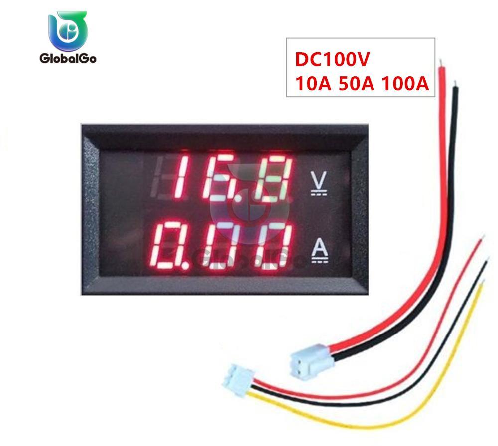 Dc100v 10a 50a 100a led digital voltímetro amperímetro medidor de tensão inteligente carro motocicleta volt tester detector monitor vermelho
