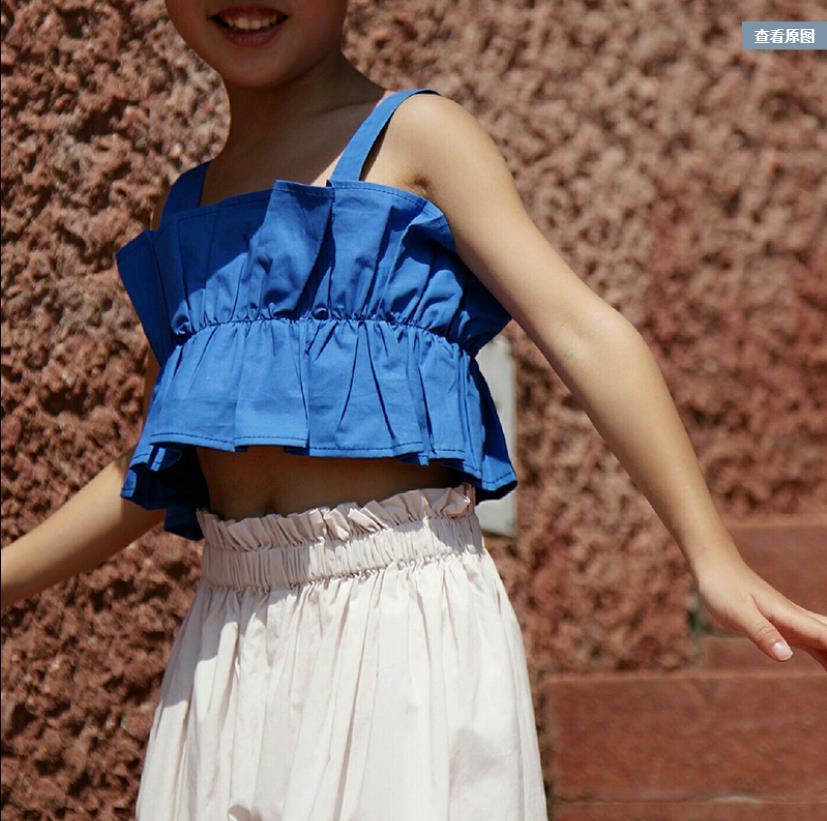 Crianças estilingue topos meninas azul curto t-shirts crianças moda enrugamento topos bebê meninas roupas de férias 3-12y ws1605