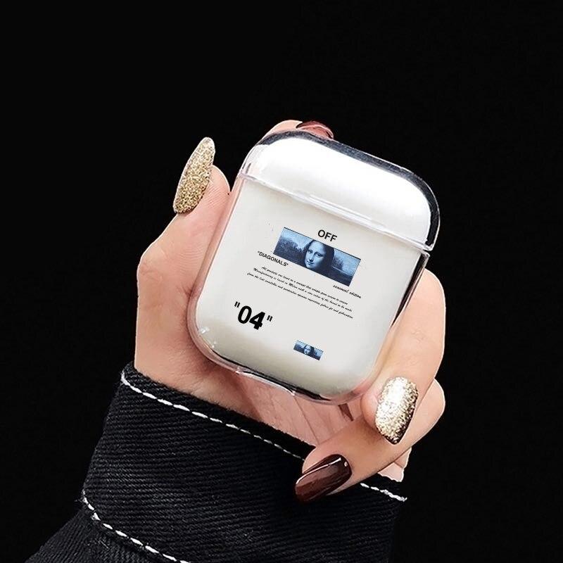 Bonita funda rígida con letras de dibujos animados para Apple Airpods 2 1 funda de lujo transparente auriculares Bluetooth con carcasa para airpod auriculares caja bolsa