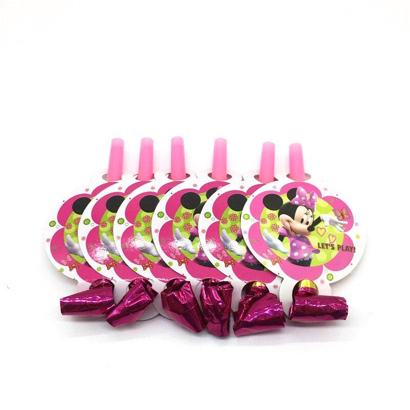 6 unids/lote Minnie Mouse Blowout decoraciones de fiesta de cumpleaños suministros para fiestas infantiles fabricantes de ruido Blowout temática de Minnie Party Baby Shower