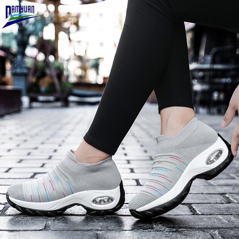 Femmes chaussures nouveau printemps décontracté plat doux dames mocassins Zapatos De Mujer 2020 coussin dair antidérapant amortissement épais noir baskets