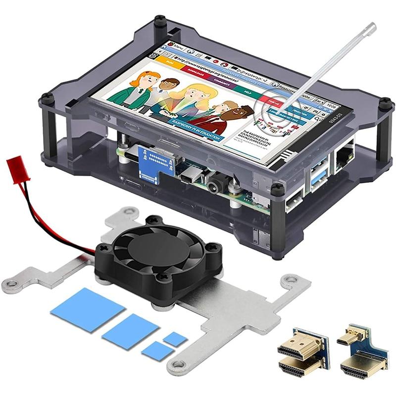 لراسبيري Pi 4 شاشة تعمل باللمس ، 4 بوصة Fps تعمل باللمس مع مروحة التبريد وحالة لراسبيري 4/3B (شاشة مع حافظة)