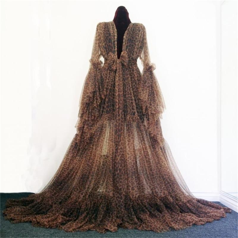 ليوبارد فستان سهرة Ruched الشيفون طويلة الأكمام العروس ملابس خاصة رداء مع القوس مخصص خلع الملابس منامة الشحن السريع