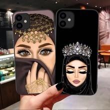Funda blanda para iPhone 11 Pro Max 6 6s de lujo para mujer en Hijab 7 8 Plus XS XR X Xs X Max cubierta