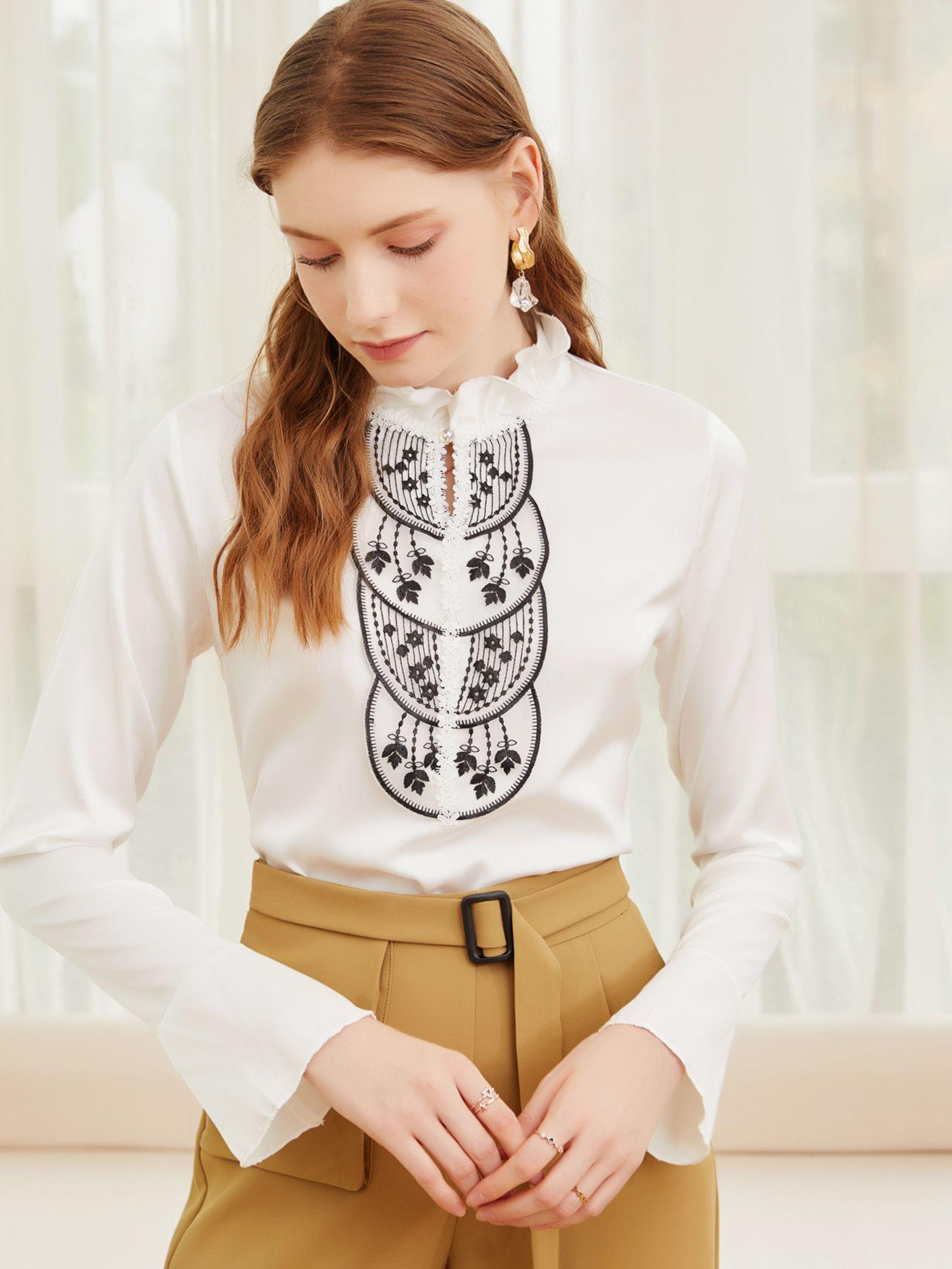 fashion-women's-ear-edge-stand-collar-top-2021-spring-and-autumn-new-chaozhou-chiffon-shirt-sleeve-women's-shirt