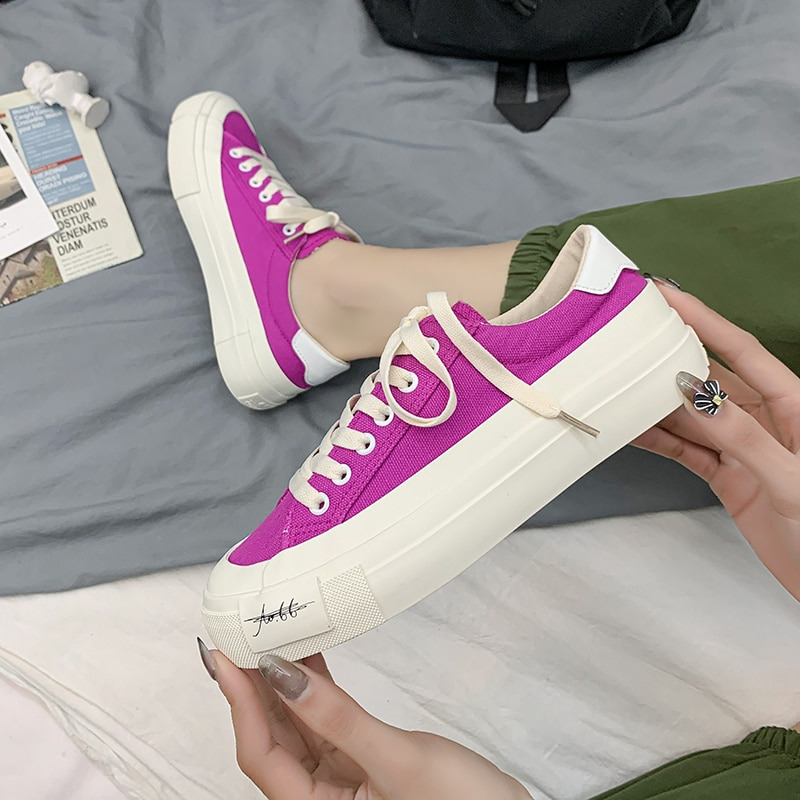 Woman Flat Platform White Canvas Casual Shoes Vulcanize Shoes Women's Sneakers Girls Student  High T