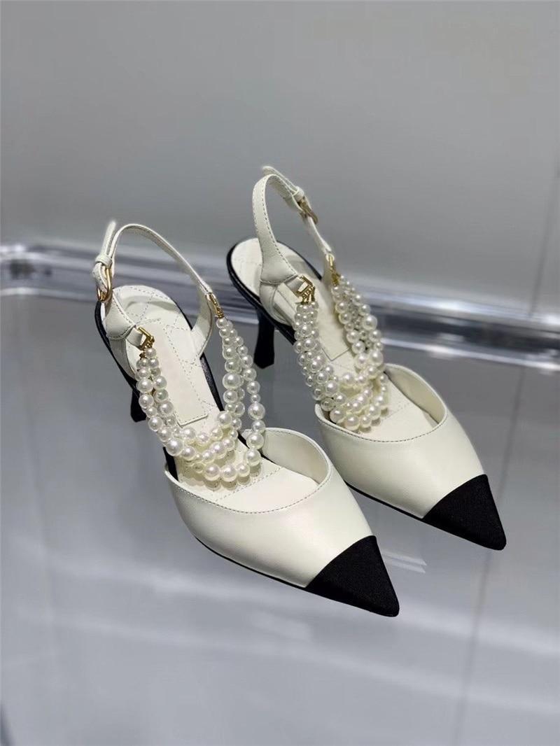 2021Fashion Women's Slipper Baotou Sandals Female Spring Summer Autumn Thin Heel Beaded Shallow Mout