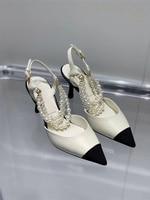 2021Fashion Women\'s Slipper Baotou Sandals Female Spring Summer Autumn Thin Heel Beaded Shallow Mouth High Heels Party Shoe Pump