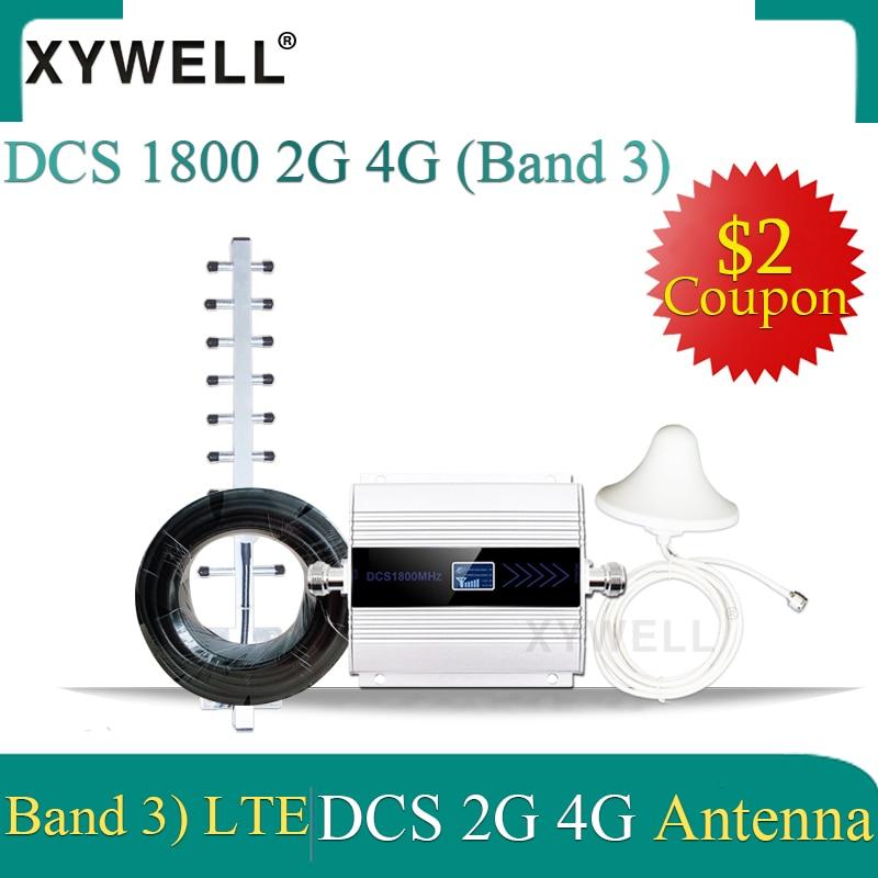 1800mhz 4g lte repetidor de impulsionador de sinal móvel dcs 1800mhz 2g celular gsm 1800 celular lcd + antena yagi