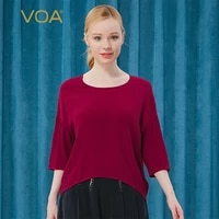 voa100 mulberry silk burgundy o neck three quarter with shoulder off loose pullover dark pattern and wild casual t shirt bj66