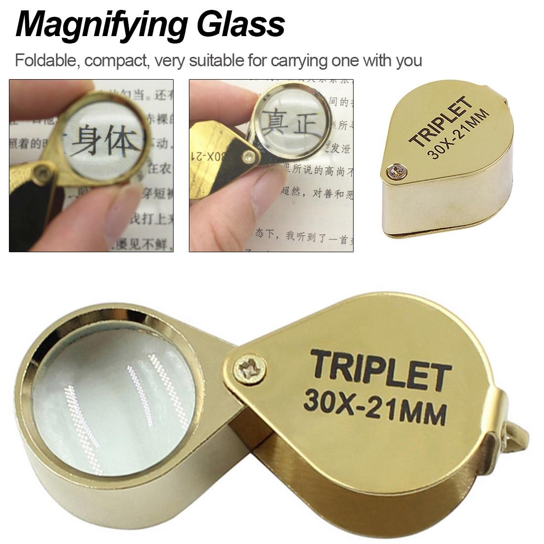 Lupa lupa de cristal óptico de Ojos de joyeros lupa de luz LED Mini lupa de plástico lente de mano 30X/ 40X/ 60X aumento
