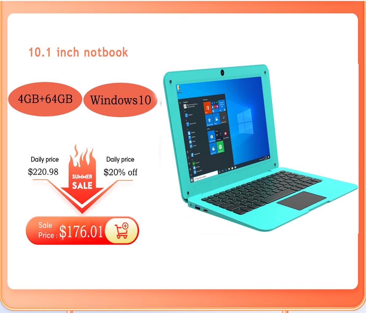 2021 Netbook New 10.1 inch Hd Lightweight and Ultra-Thin 6GB+64GGB Lapbook Laptop Intel N3350 64-Bit DUAN Core Netbook
