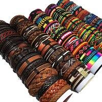 Оптовая продажа, случайные 30 шт./лот, мужские и женские кожаные браслеты, женские браслеты, браслет для пар, мужские ювелирные изделия WP8
