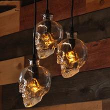 Moderne crâne clair verre pendentif lumières rétro démon crâne fantôme mal squelette pendentif lampe Bar salle à manger LED luminaire