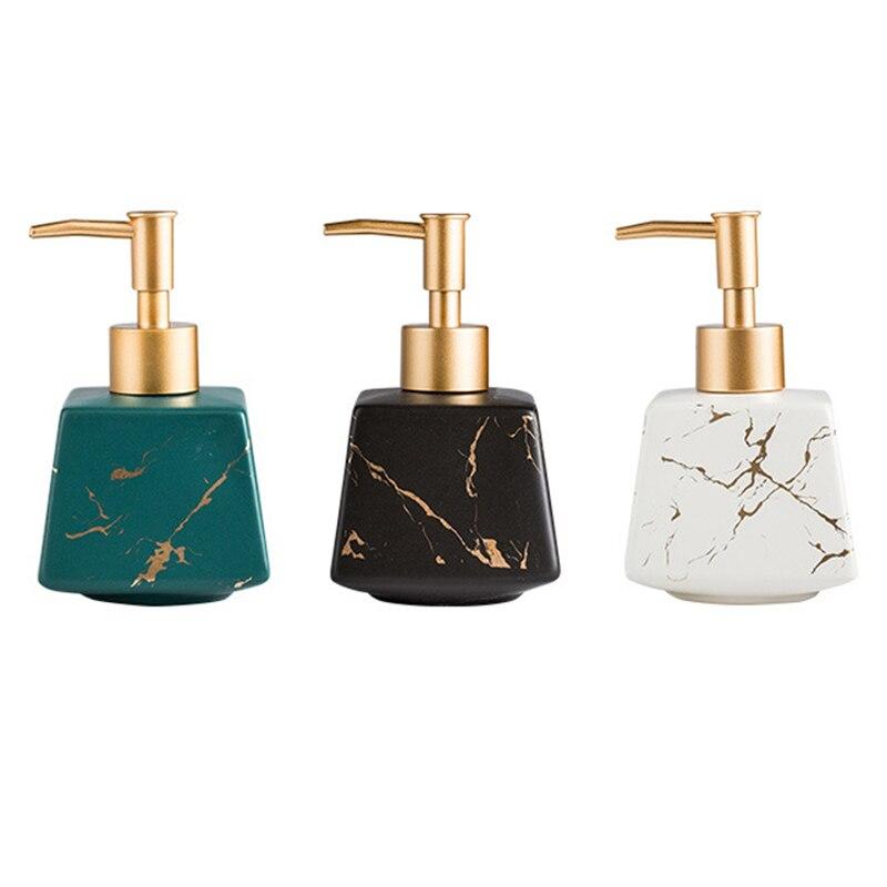 260Ml salle de bain luxe en céramique marbre savon distributeur douche Gel shampooing bouteille deau Lotion carrée presse bouteille