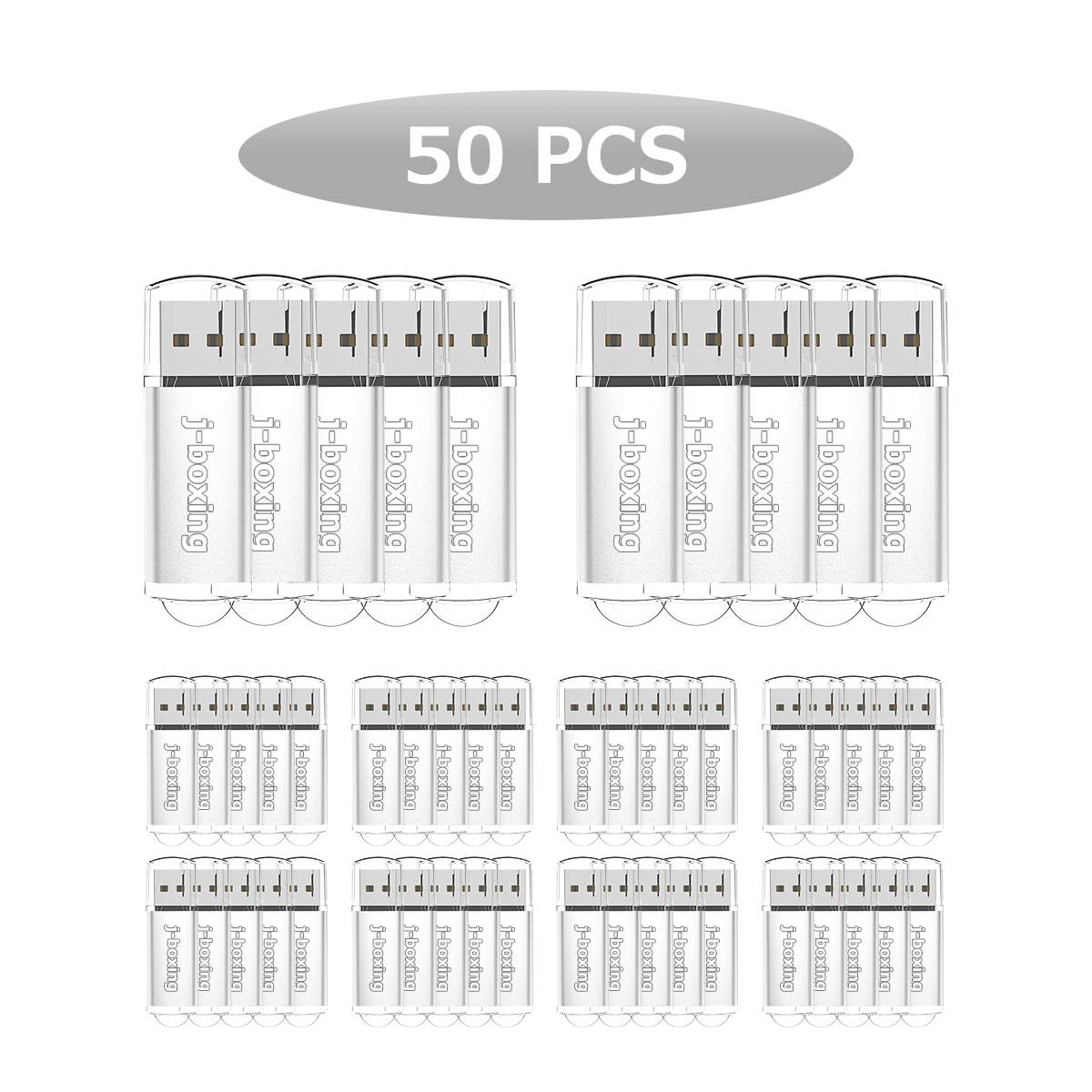 J-boxing 50PCS 128MB USB Flash Drive Flash Pen Drive Rectangle Thumb USB Memory Stick for PC Laptop Tablet Macbook Multicolors