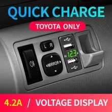 New Car Usb Toyota Caricatore 12V 24V Adattatore Dual Usb 4.2A Corolla Hilux Presa Accendisigari Per Il Telefono Astuto voltmetro