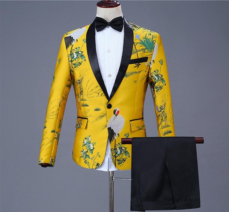 Para banquete o fiesta de Noche cena de gran tamaño amarillo de un solo botón trajes con pantalones de diseño de moda para hombre bailarín cantante ropa de escenario