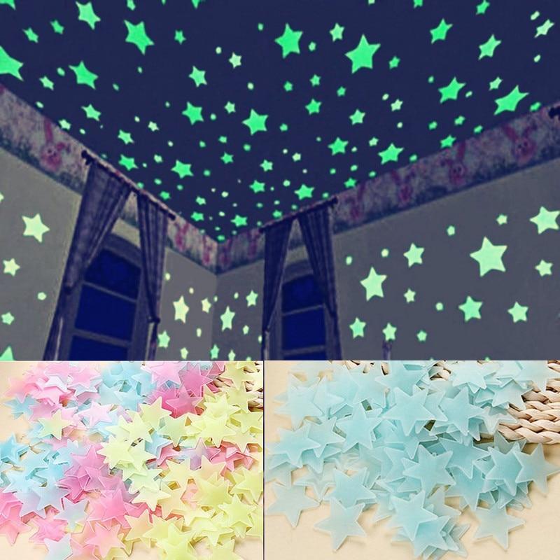 100PC Kids Bedroom Fluorescent Glow In The Dark Stars Wall Stickers Luminous luminous Sticker Color