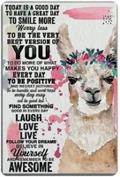 llama follow your dreams believe in yourself retro metal tin sign plaque poster wall decor art shabby chic gift suitable