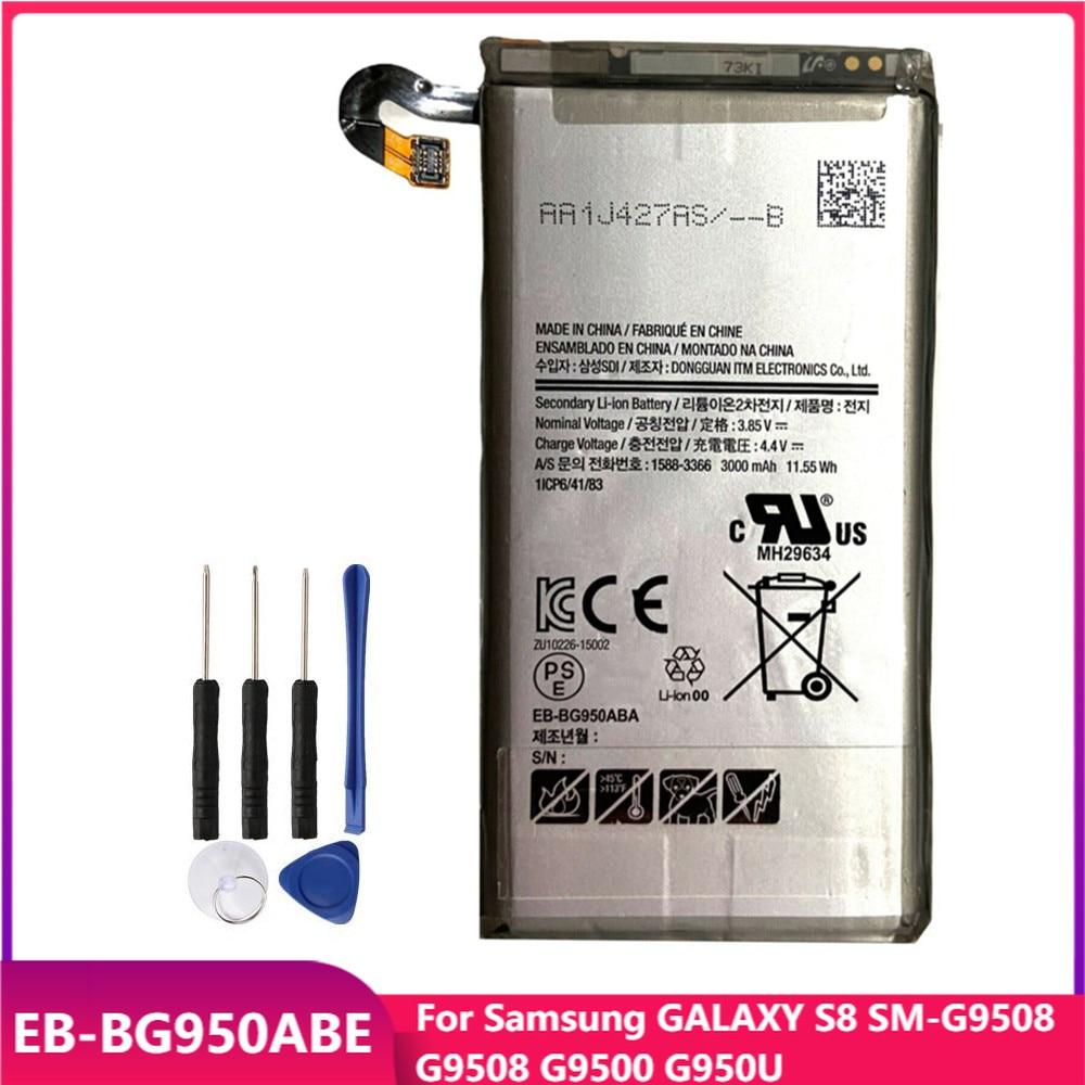 Оригинальная Аккумуляторная батарея для телефона Samsung GALAXY S8 EB-BG950ABE G9508 G9500 G950U, сменные аккумуляторные батареи 3000 мАч