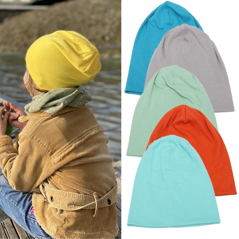 2021 модные однотонные Детские уличные танцевальные шапки-бини, вязаные хлопковые шапки для новорожденных, детские наушники, шапки для улицы