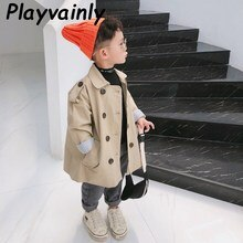 Children Trench Coat 2020 Autumn Baby Boys Girls Khaki Casual Coat Single-breasted Loose Dust Coat B
