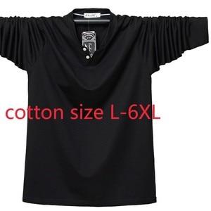 New Arrival Fashion Large Long Sleeve Men Autumn Winter Elastic Cotton Casual V-neck Knitted T Shirt Plus Size L-2XL3XL4XL5XL6XL