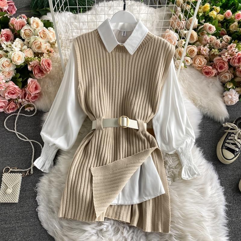 2021 ربيع الخريف المرأة فانوس كم قميص محبوك سترة قطعتين مجموعات من كلية نمط صدرية صدرية مجموعتين أعلى UK900