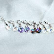 Простой мульти Цвет ed с украшением в виде кристаллов круглый свисающие серьги для женщин, серьги цвета золотистый, серебристый Цвет серьги-подвески в форме Свадебные ювелирные изделия женские аксессуары