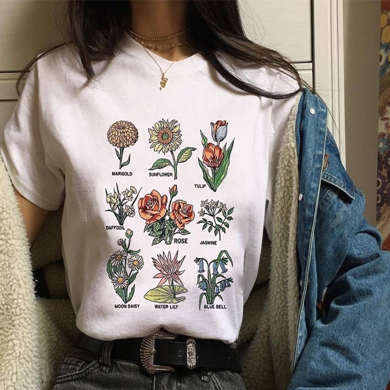 Harajuku Vintage Fashion Ulzzang Plant Print Graphic Tees Women Summer Loose Causal O-neck White T Shirt Female Women's Clothing