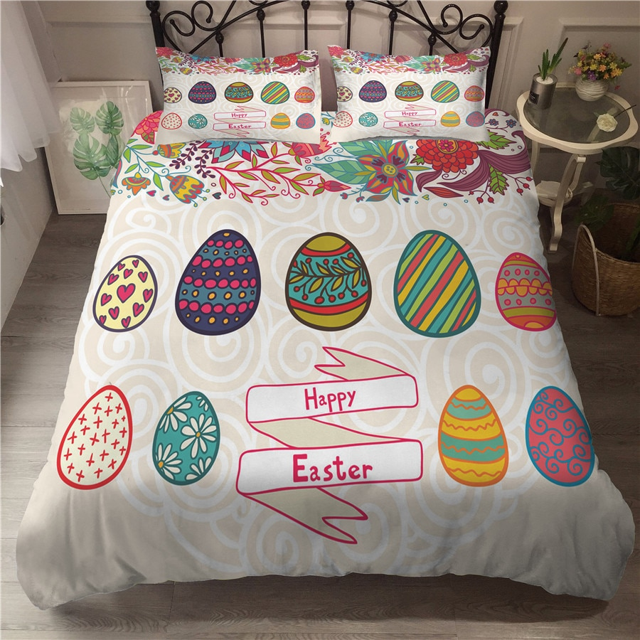A Bedding Set 3D Printed Duvet Cover Bed Set Easter Day Home Textiles for Adults Bedclothes with Pillowcase #FHJ01