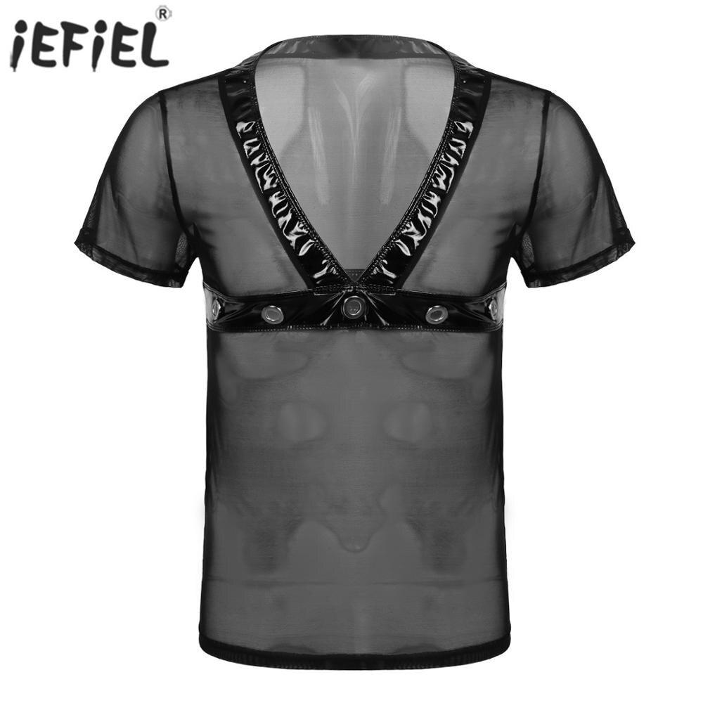Sexy Mesh Men T-shirt Tops Casual Fashion See-through Sheer V Neck Men's Shirts Nightclub Sexy Patent Leather Men Clothes