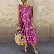 Summer Women Vintage Long Dress Casual Cross O-neck Polka Dot Print Party Sleeveless Dresses Female